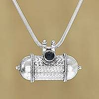 Onyx pendant necklace, 'Royal Drum' - Onyx and Sterling Silver Drum Pendant Necklace from India