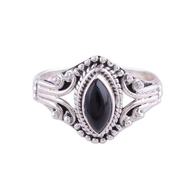 Onyx single-stone ring, 'Midnight Luxury' - Onyx and Sterling Silver Single Stone Ring from India