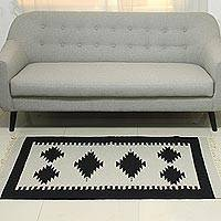 Wool dhurrie rug, 'Geometric Palace' (3x5) - 3x5 Wool Dhurrie in Black and Pearl Grey from India