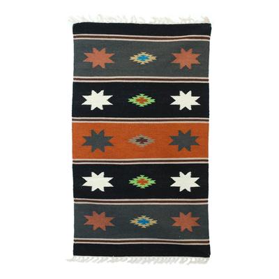 Wool dhurrie rug, 'Night of Stars' (3x5) - 3x5 Striped Wool Dhurrie Rug with Geometric Motifs