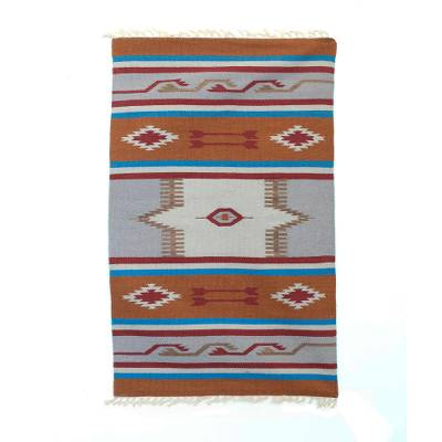 Wool dhurrie rug, 'Grand Palace' (3x5) - 3x5 Wool Dhurrie in Burnt Orange and Smoke from India