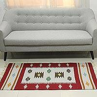 Wool dhurrie rug, 'Crimson Elegance' (3x5) - 3 by 5 Foot Handwoven Crimson Wool Dhurrie Rug from India