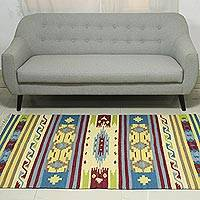 Wool dhurrie rug, 'Primary Garden' (4x6) - Colorful Handwoven 4 x 6 Wool Dhurrie Rug from India