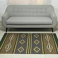 Wool dhurrie rug, 'Forest Harmony' (4x6) - Artisan Handwoven Wool and Cotton Dhurrie Rug (4x6)