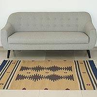Wool dhurrie rug, 'Sandy Hillock' (4x6) - 4x6 Handwoven Wool Dhurrie Rug in Sand from India