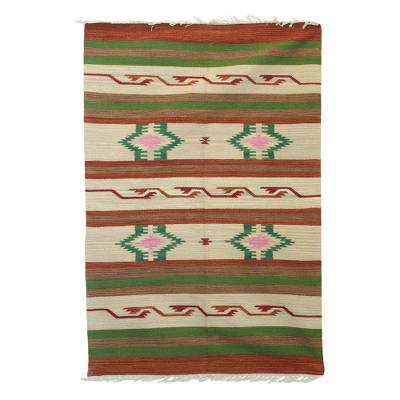 Wool dhurrie rug, 'Cozy Dream' (4x6) - 4x6 Handwoven Striped Wool Dhurrie Rug from India