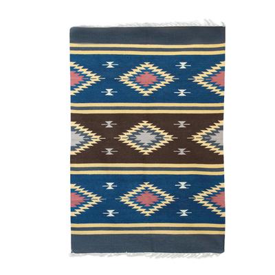 Wool dhurrie rug, 'Twinkling Fantasy' (4x6) - 4x6 Wool Dhurrie Rug with Striped Geometric Motifs
