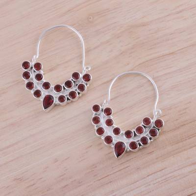 Garnet Hoop Earrings Princess Radiance And Sterling Silver From