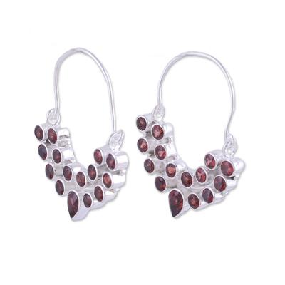 Garnet hoop earrings, 'Princess Radiance' - Garnet and Sterling Silver Hoop Earrings from India
