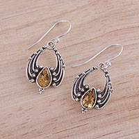 Citrine dangle earrings, 'Shooting Drops' - Handcrafted Teardrop Citrine Dangle Earrings from India