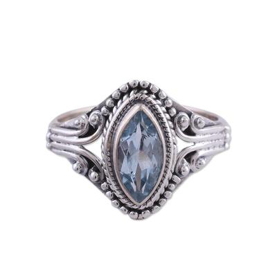 Blue topaz single-stone ring, 'Morning Luxury' - Blue Topaz and Sterling Silver Single Stone Ring from India