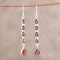 Garnet dangle earrings, 'Sparkling Rain' - Handcrafted Teardrop Garnet Dangle Earrings from India