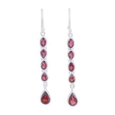 Garnet dangle earrings, 'Sparkling Rain' - Handcrafted Teardrop Garnet Dangle Earrings from India