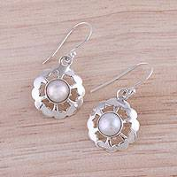 Cultured pearl dangle earrings, 'Lacy White' - Circular Cultured Pearl Dangle Earrings from India