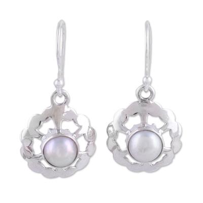 Cultured pearl dangle earrings, 'Lacy White' - Circular Cultured Pearl Dangle Earrings from India