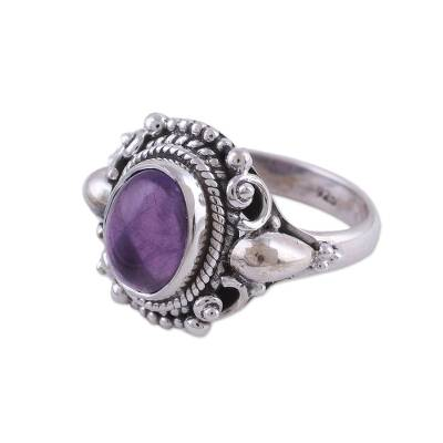 Amethyst cocktail ring, 'Radiant Royalty' - Handcrafted Amethyst and Sterling Silver Cocktail Ring
