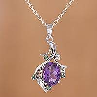 Featured review for Rhodium plated amethyst and emerald pendant necklace, Harmony Vine