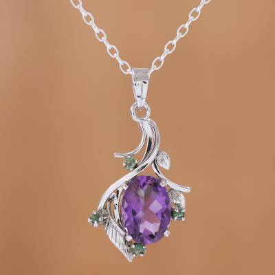 Rhodium Plated Amethyst and Emerald Necklace from India