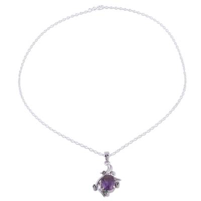 Rhodium plated amethyst and emerald pendant necklace, 'Harmony Vine' - Rhodium Plated Amethyst and Emerald Necklace from India