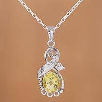 Rhodium plated citrine pendant necklace, 'Sunshine Vine' - Rhodium Plated Leafy Citrine Pendant Necklace from India