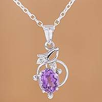 Rhodium plated amethyst pendant necklace, 'Alluring Vine' - Rhodium Plated Leafy Amethyst Pendant Necklace from India