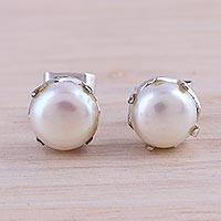 Cultured pearl stud earrings, 'Timeless Appeal' - Rhodium Plated Cultured Pearl Stud Earrings from India