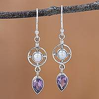 Amethyst and cultured pearl dangle earrings, 'Wheels of Wonder' - Amethyst and Cultured Pearl Dangle Earrings from India