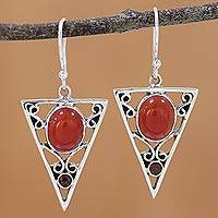 Carnelian and garnet dangle earrings, 'Radiant Triangle' - Carnelian and Garnet Sterling Silver Dangle Earrings