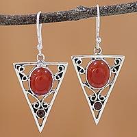 Carnelian and garnet dangle earrings, 'Radiant Triangle' - Carnelian and Garnet Sterling Silver Dangle Earrings