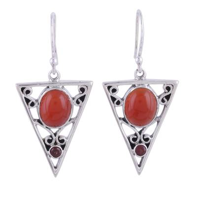 Carnelian and Garnet Sterling Silver Dangle Earrings