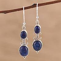 Lapis lazuli dangle earrings, 'Blue Aura' - Artisan Handmade Lapis Lazuli 925 Sterling Silver Earrings