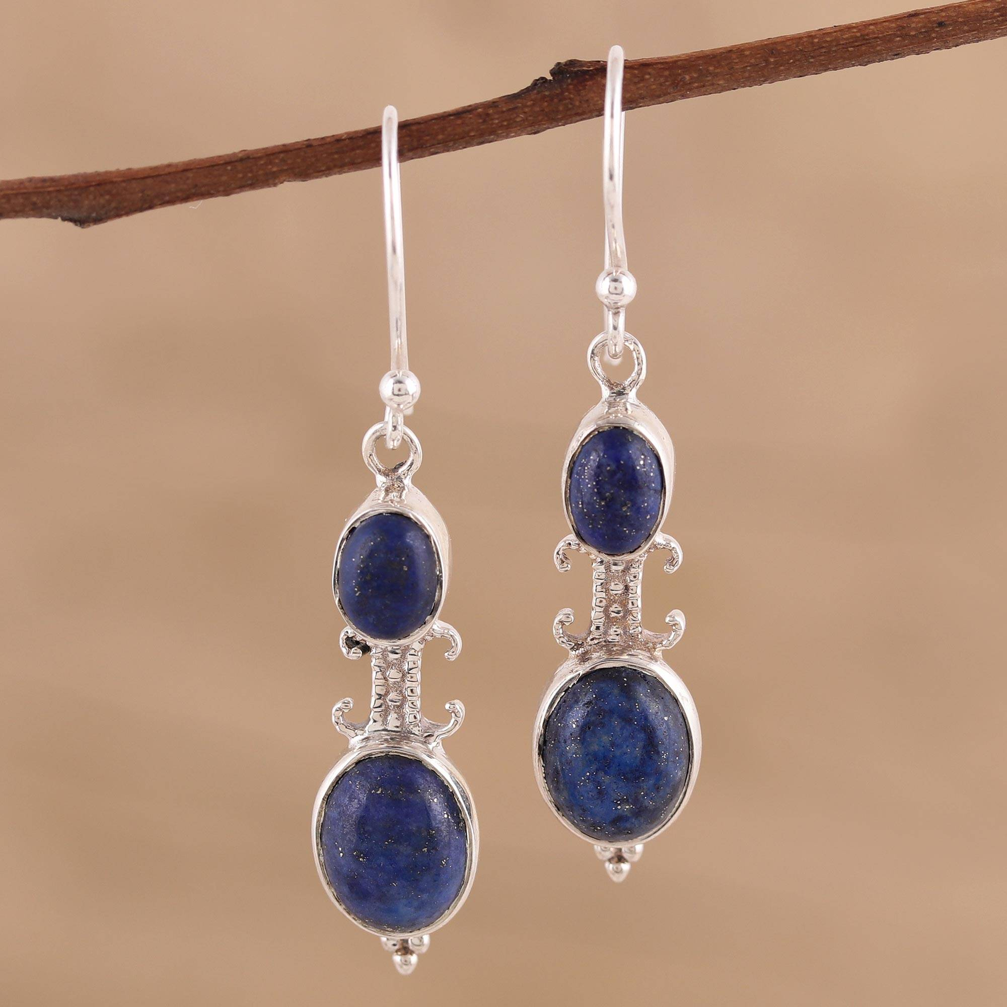 Earrings 925 sterling silver with lapis lazuli