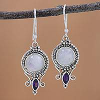 Rainbow moonstone and amethyst dangle earrings, 'Majestic Windows' - Rainbow Moonstone and Amethyst Dangle Earrings from India