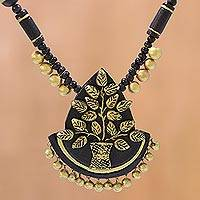 Ceramic pendant necklace, 'Tree of Wealth' - Tree-Themed Ceramic Pendant Necklace from India