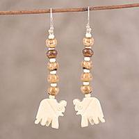 Bone dangle earrings, 'Tribal Elephants' - Beaded Bone Elephant Dangle Earrings from India
