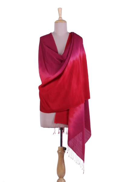 Tie-dyed silk and wool blend shawl, 'Blissful Fusion' - Tie-Dyed Silk and Wool Blend Shawl in Crimson and Berry