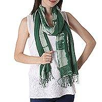 Tie-dyed cotton shawl, 'Moss Green Paradise' - Tie-Dyed Cotton Shawl in Moss Green from India