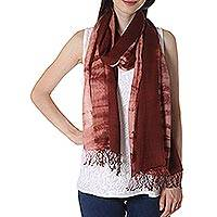 Tie-dyed cotton shawl, 'Chocolate Bliss' - Tie-Dyed Fringed Cotton Shawl in Chocolate from India