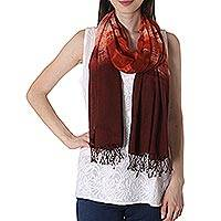 Tie-dyed silk shawl, 'Redwood Forest' - Tie-Dyed Fringed Cotton Shawl in Redwood from India