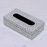 Glass mosaic tissue box cover, 'Reflective Perfection' - Glass Mosaic Reflective Tissue Box Cover from India