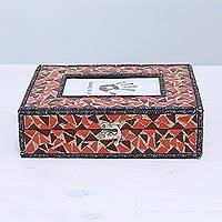 Glass mosaic decorative box, 'Mosaic Magnificence' - Glass Mosaic Decorative Box and 4x6 Photo Frame from India