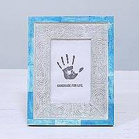 Bone and aluminum photo frame, 'Don't Be Blue' (4x6) - 4x6 Handcrafted Bone and Aluminum Photo Frame from India