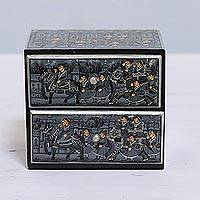 Wood chest, 'The Royal Procession' - Miniature Painting Petite Chest of Drawers