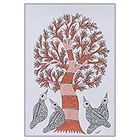 Gond painting, 'Abode of Birds' - Tree of Life with Birds Signed Freehand Indian Gond Painting