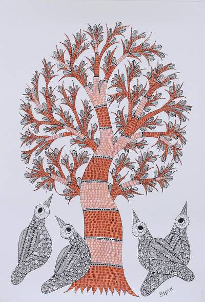 Tree of Life with Birds Signed Freehand Indian Gond ...
