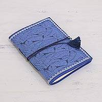 Leather accent cotton journal, 'Sky Blue Grove' - Leaf Motif Leather Accent Cotton Journal from India