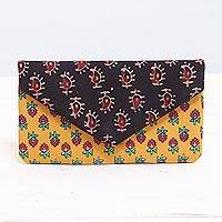 Cotton clutch, 'Harmonious Design' - Floral Cotton Clutch in Saffron and Jade from India