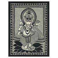 Madhubani painting, 'Ganesha's Feast' - Freehand India Madhubani Folk Art Painting in Grey and Black