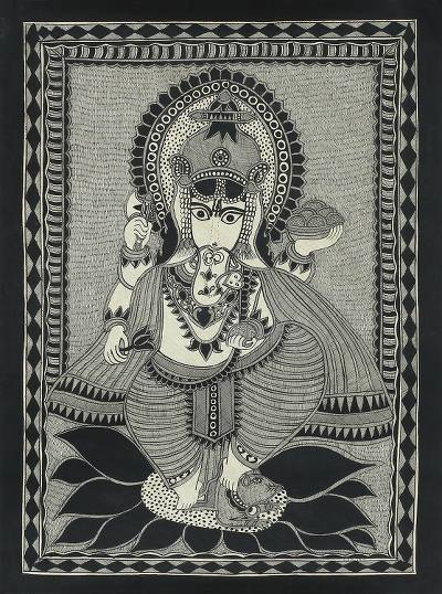 Freehand India Madhubani Folk Art Painting in Grey and Black