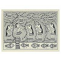 Madhubani painting, 'Krishna's Song II' - Black and White Madhubani Painting of Krishna and Radha